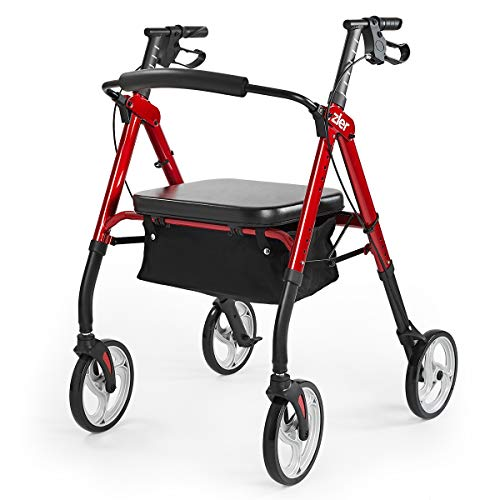 Zler Heavy Duty Rollator Walker 500 lbs - Bariatric Medical Rollator Walker with Extra Wide Padded Seat for Seniors, Elderly - Folding Rolling Walkers 10inches Lager Wheels, Red