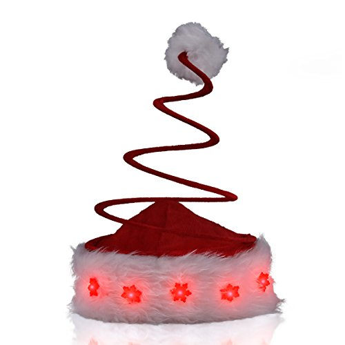Light Up Silly Spring Santa Hat with Blinky LED Snowflakes