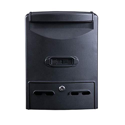 JIAHE115 Inductie metalen mand design muur mailbox/brievenbus/outdoor waterdicht rek dagboek met slot, zwart decoratieve huisemmer