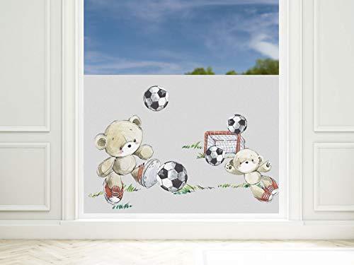 GRAZDesign Fensterfolie Kinderzimmer Fußballer, Sichtschutzfolie Blickdicht, Milchglasfolie, 57cm hoch / 80x57cm