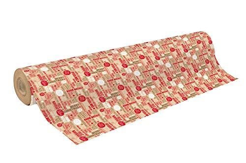 Clairefontaine 223811C un rollo de papel de regalo Kraft Brut 50M 7070g palabras de Navidad