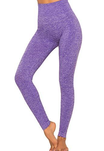 FITTOO Leggings Sin Costuras Mujer Pantalon Deportivo Alta Cintura Yoga Elásticos Seamless #1 Morado Medium