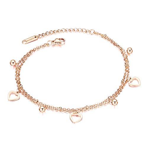 bigsoho - Tobillera para mujer, oro rosa, acero inoxidable, diseño de bolitas