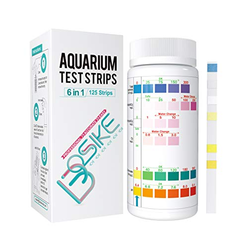 BOSIKE Aquarium 6 in 1 Test Strips,Water Test Kit for Freshwater, Fish Tank, Fish Pond, 125 Counts Accurate Total Hardness, Nitrate, Nitrite, Cl2, Carbonate and pH Testing