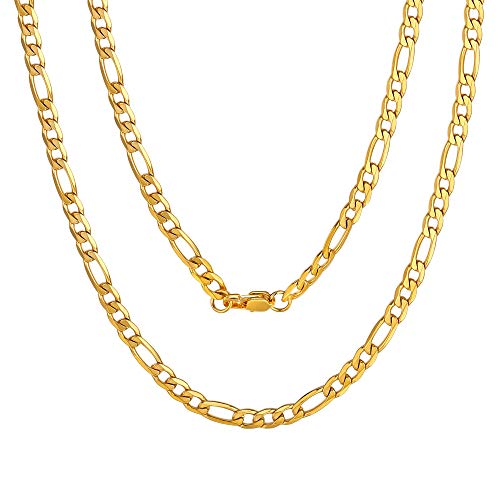 ChainsPro Golden Necklace Mens Neck Chain 4mm 22inch Figaro Jewelry Gift
