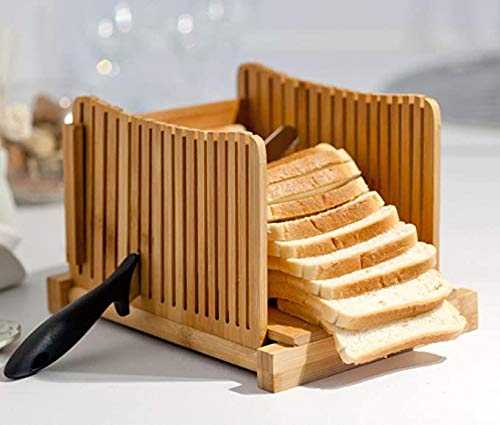 Check Out This Pansy Bamboo Bread Slicer, Loaf Cutting Guide Board, Adjustable & Foldable