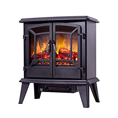 CDBGR Electric Fireplace Suite Freestanding Wood Burning Stoves Log Burner Flame Effect Overheat Protection 1400W