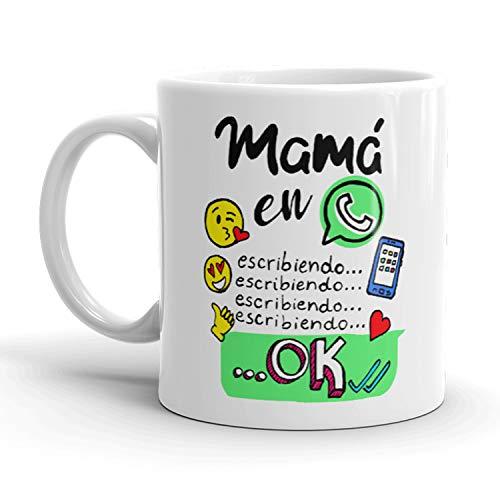 Kembilove Taza de café para Mamás – Taza de cerámica con mensaje divertido para madres Mamá en Whatsapp, Escribiendo... – Tazas de primera calidad – Ideal para regalar el Día de la Madre, Cump