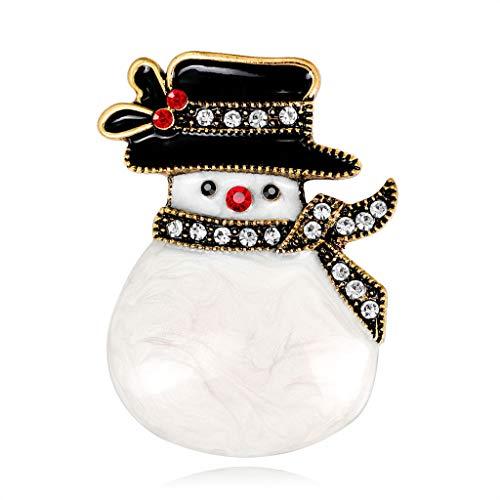 WEDFTGF Broche de Navidad Año Nuevo Muñeco de Nieve Sombrero Moda Antigua Bufanda Ramillete Regalos Pins