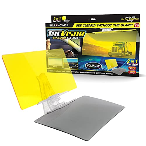 Tacvisor by Bell+Howell for Day and Night, Polarized Sun Visor, Anti-Glare, UV Blocking Sun Protection Vehicle Windshield Sunshade, Car Accessories for Clearer Vision and Safety Driving As Seen On TV