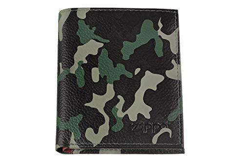 Zippo Leather tri fold wallet Portamonete 10 centimeters  Verde (Green Camouflage)