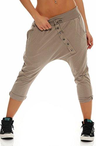 Malito Damen Kurze Hose mit Knopfleiste | Chino Hose in Unifarben | Baggy zum Tanzen | Sweatpants - Trainingshose 8015 (Fango)