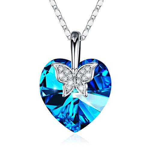 IEFRICH for Her Wife Girlfriend, Cubic Zirconia Blue Crystal Love Heart Pendant Butterfly Necklace for Women Jewelry, Mothers Day Valentines Gifts for Her Mom Birthday