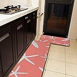 Juego de 2 alfombras de cocina y alfombrilla de cocina, diseño de estrella de mar, color rosa salmón, antideslizante, suave, absorbente, para cocina, suelo, baño, fregadero, lavandería, oficina