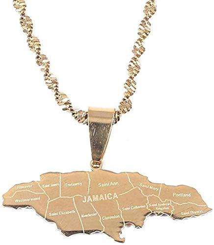huangshuhua Collar Acero Inoxidable Jamaica Collares Pendientes Bandera de Jamaica Charm Jewelry