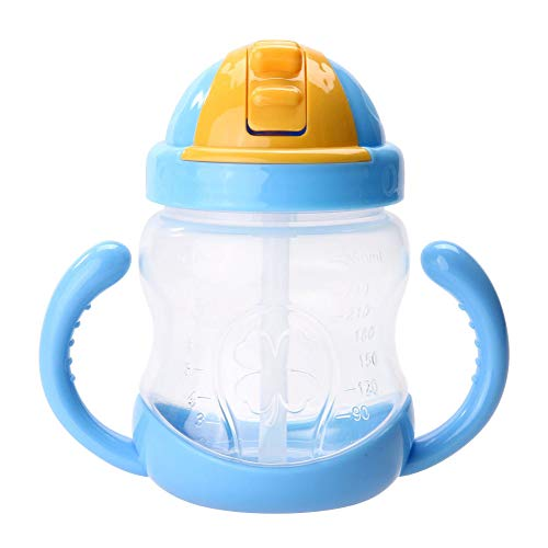 Best Review Of AYOPV 280Ml Baby Bottle Kids Cups Silicone Sippy Training Drinking Water Cups Straw H...