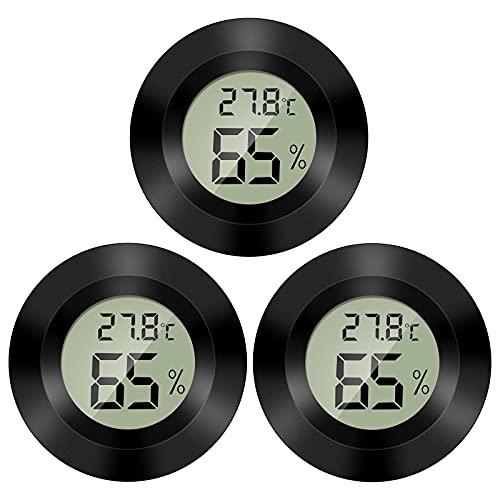QeeFop 3 Stücke Thermometer Kühlschrank Mini LCD Digital Thermometer Temperatur Luftfeuchtigkeitsmesser Luftfeuchtigkeit Tester Hygrometer,Perfekt für Kühlschrank,Aquarium(Temperaturbereich:-50~+70°C)
