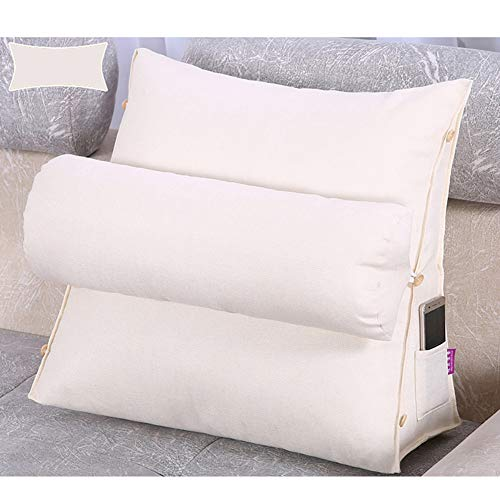Big Backrest Reading Bed Rest Pillow, Cotton Linen Memory Foam Fill, Reading Bolster Pillow,Its Moisture Absorption And Air Permeability Are Very Good,White