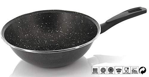 Padella da wok con Rivestimento Antiaderente, Wok ad Induzione, Saltapasta, diametro 20/28/35 cm, Made in Spagna, 28 cm
