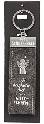 Depesche 10890.015 Schlüsselanhänger aus Filz, mit Schutzengel und Aufschrift, Ich beschütze dich beim Autofahren, grau, ca. 15 cm