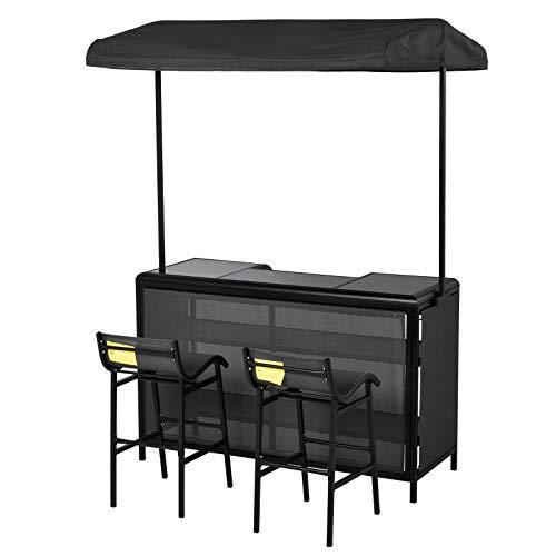 Outsunny Outdoor-Bartisch Set, Bistrotisch mit Dach, 2 Barstühle, 3 TLG. Sitzgruppe, Teslin, 145 x 55 x 94 cm