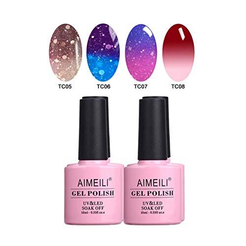 AIMEILI UV LED Thermo Gellack mehrfarbig ablösbarer Temperatur Farbwechsel Nagellack Chameleon Gel...