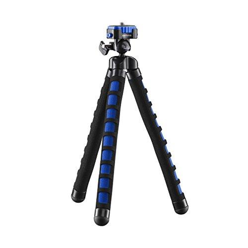 Mantona kaleido Flex leichtes Flex Stativ (mit hochwertigem 360° Kugelkopf, geeignet für Digital und Videokameras, Smartphones und Action Cams) ocean blue