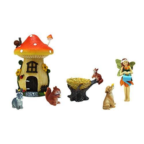 Gazechimp 6X Little Mushroom Animal Paisaje Resina Adornos Patio Jardín Decoración