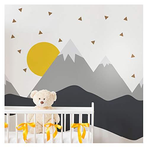 Pegatinas de pared para niños – Decoración de habitación de bebé – Adhesivo de pared escandinavo – Adhesivo mural gigante de montañas escandinavas – 60 x 140 cm