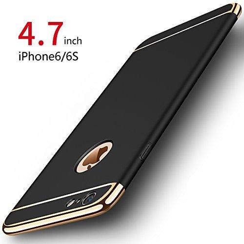 PRO-ELEC Cover iPhone 6/6s, Custodia iPhone 6/6s con [Vetro Temperato Protezione Schermo] Ultra Sottile Anti-graffio Resistente Custodia Cover per iPhone 6/6s (4.7 Pollici) - Nero