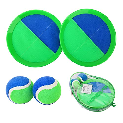 EVERICH TOY Paddle Toss and Catch Ball Set-Upgraded Version 8inch Paddle Catch Games Toy for Kids/Adults(2 Rackets,2Balls,1 Bag)