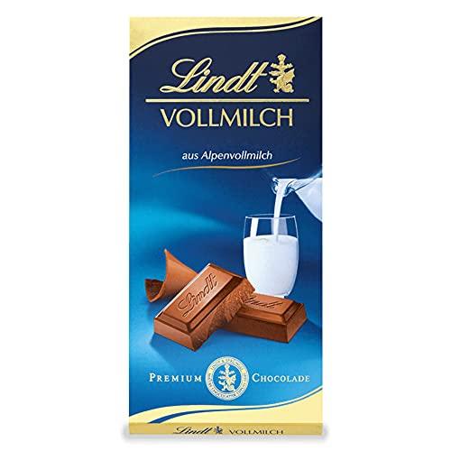 Lindt Vollmilch Schokolade | 100g Schokoladen-Tafel | zartschmelzende Alpenvollmilch-Schokolade | glutenfrei