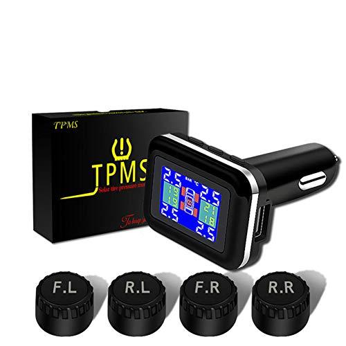 JSX TPMS Tire Pressure Monitoring System, met USB-aansluiting voor sigarettenaansteker-stekker, universeel draadloos auto-waarschuwingssysteem LCD-display met 4 externe sensoren
