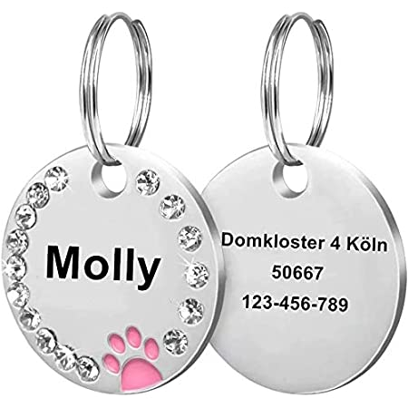 SSC Custom Personalized Dog  Paw Rhinestone Pet ID Name Tag Engraved Personalized Round Rhinestone pet ID tag and collar for dogs Cats AS3