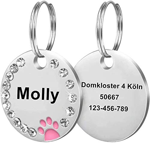 Cerolopy Custom Pet ID Tags, Round Crystal Tags with Pretty Glitter Bling Paw Print, Double-Side Laser Engraving Tags Fit Small Medium Large Dogs and Kittens(Pink)