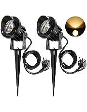 ledmo LED buitenspot tuinlamp gazon lamp 9 W COB wandlamp binnenverlichting waterdicht IP65 warm wit 3000-3300K 2 stuks met Eurostekker