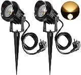 2PCS Foco Proyector Exterior 9W LED Lámpara de Césped con Espica Impermeable IP65 Focos de Jardín con Pincho 800lm Blanco Cálido Foco COB LED de Jardín Suelo Caminos Paisajes Decoración