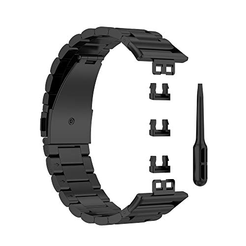 JOAN Banda Correa Reemplazable, Correa de Metal Compatible con Huawei Watch Fit, Pulsera Reloj de Acero Inoxidable, Negro