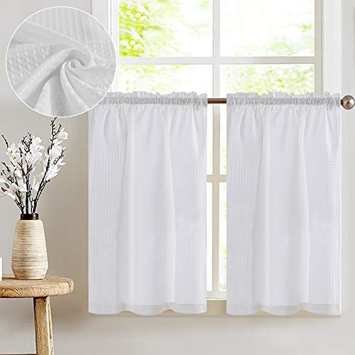 COLLACT White Kitchen Curtains Cafe Curtains 36 Inch Waffle Textured Tier Curtains for Bathroom Half Half Window Curtains for Living Room Bedroom Light Filtering Drapes 2 Panels