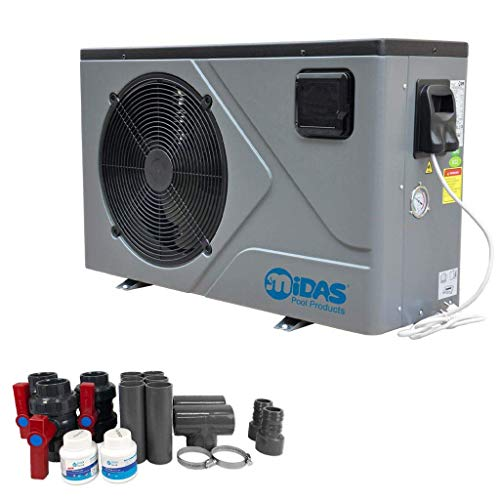 well2wellness Full-Inverter Pompe à Chaleur Mida.Joy 17 avec Une capacité de Chauffage jusqu'à 16,80 KW + Bypass et bâche