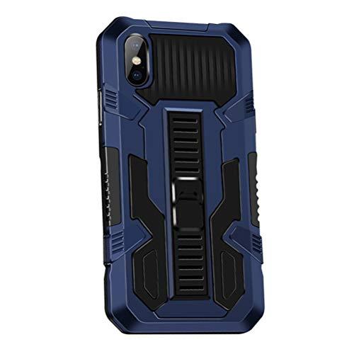MOONCASE Funda para iPhone XS MAX 6.5', Estuche Protectora Resistente y Delgada a Prueba de Golpes con Soporte [Grado Militar] Carcasa Protectora de Doble Capa Caso -Azul