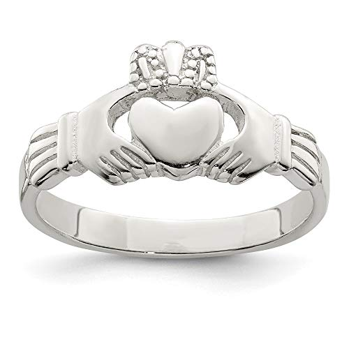 925 Sterling Silver Solid Irish Claddagh Celtic Knot Band Ring Size 7.00 Fine Jewelry For Women Gifts For Her