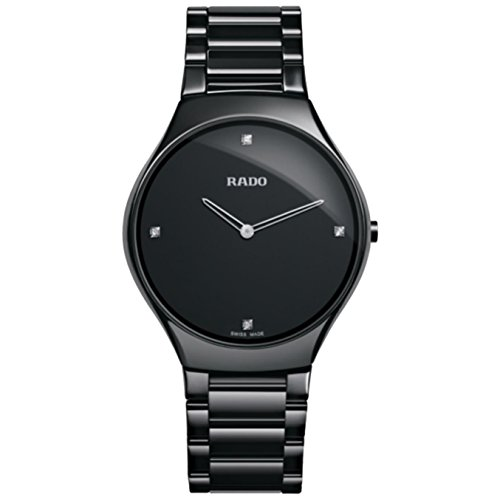 Rado R27741712 Watch True Thinline Mens - Black Dial Stainless Steel Case Quartz Movement