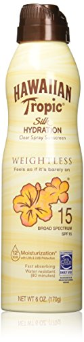 Hawaiian Tropic Silk Hydration Weightless Clear Spray Sunscreen, Broad-Spectrum Protection, SPF 15, 6 Ounces