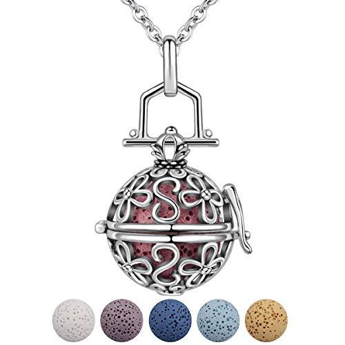 INFUSEU Collar de aromaterapia de Flores Piedras de Lava Difusor de Aceite Esencial Medallón Colgante Joyas para Mujeres Niña con 5 PCS Cuentas de Lava y Cadena de eslabones de 61 cm