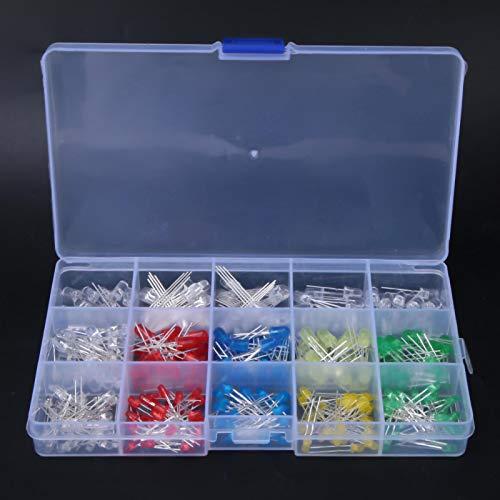 Diodo emisor de luz Práctico kit de diodo emisor de luz LED duradero de 3 mm / 5 mm Caja de 300 piezas para proyectos de LED DIY UV/Parpadeo lento/Ánodo/Cátodo
