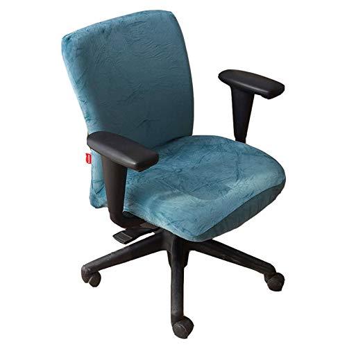JHLD Samt Bürostuhl Bezug, Stretch Bezug Für Bürostuhl Weiche Abnehmbare Waschbar Drehstuhl Bezug Für Drehstuhl-Pfauenblau-Bürostühle