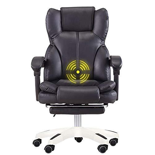 Klapstoel, dubbele verdikking van de rugleuning, PU-leer, gevoerd, bureaustoel, design met hoog comfort, massagefunctie, gewicht van de kogellagers, 150 kg, geschikt voor op kantoor thuis.