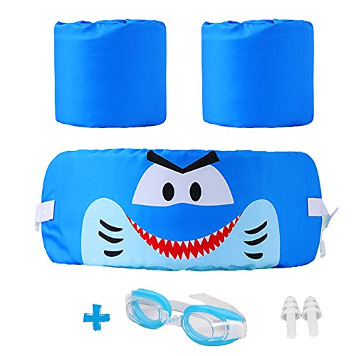 Swimming Vest for Kids 30-50 lbs, Swim Arm Band Aids Floats with Goggles Ear Plugs Learning Swim Suitable for Baby Toddler , Puddle Pool Beach
