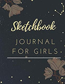 """Sketchbook ; J O U R N A L F O R G I R L S: A Journal  for star lovers -Journal and Notebook for Girls Size """"8.5x11"""", Sketching and Notes"""